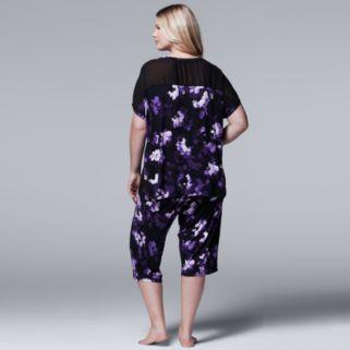 Plus Size Simply Vera Vera Wang Pajamas: Late Bloomers Top & Capris PJ Set