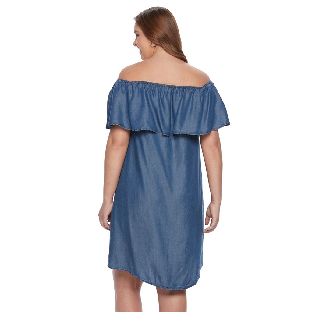 Plus Size Apt. 9® Ruffled Chambray Off-the-Shoulder Dress
