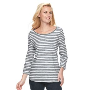 Women's Croft & Barrow® Button-Tab Scoopneck Tee