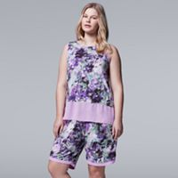 Plus Size Simply Vera Vera Wang Pajamas: Late Bloomers Tank & Shorts PJ Set