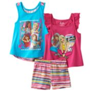 "Girls 4-6x Barbie ""Fab Friends"" Tank Top, Top & Shorts Set"