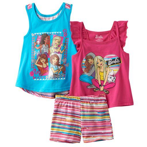 "Girls 4-6x Barbie ""Fab Friends"" Tank Top, Top & Shorts Set"