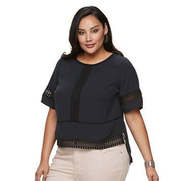 Plus Size Jennifer Lopez Ricrac Boxy Crepe Top