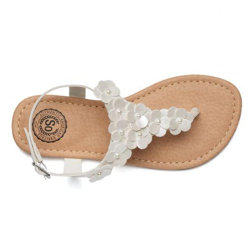 SO® Girls' Ankle Strap Flower Sandals