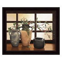 Olive Jar With Red Berry Branches Framed Wall Art