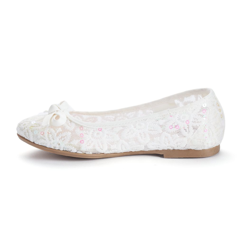 SO® Girls' Sequined Ballet Flats