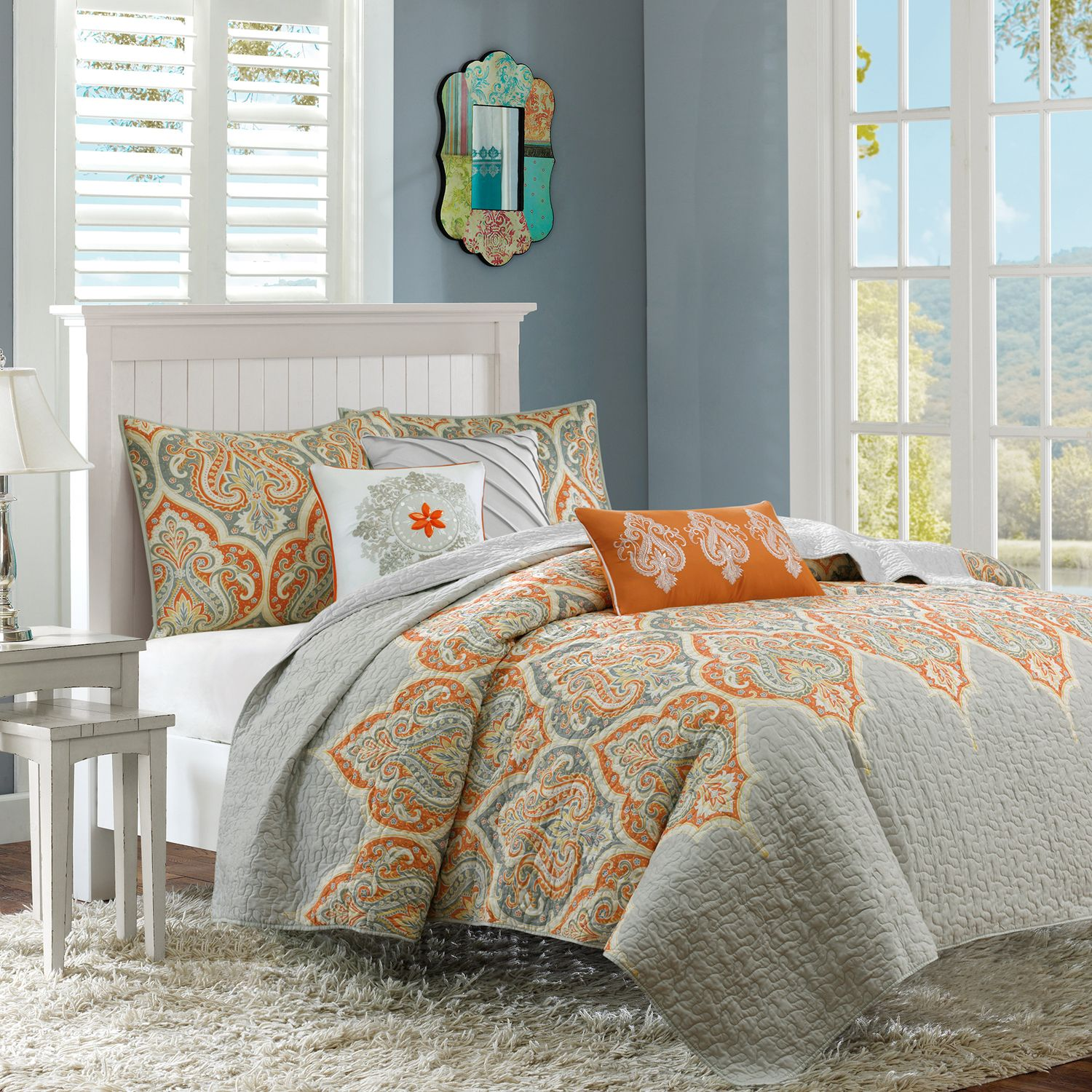 Madison Park Leah Quilted Coverlet Set. Yellow Orange Aqua