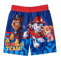 Toddler Boy Paw Patrol Chase, Marshall & Skye Swim Trunks