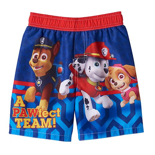 68e503077d7eb Toddler Boy Paw Patrol Chase, Marshall & Skye Swim Trunks