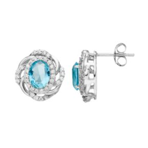 Sophie Miller Sterling Silver Simulated Aquamarine & Cubic Zirconia Oval Stud Earrings