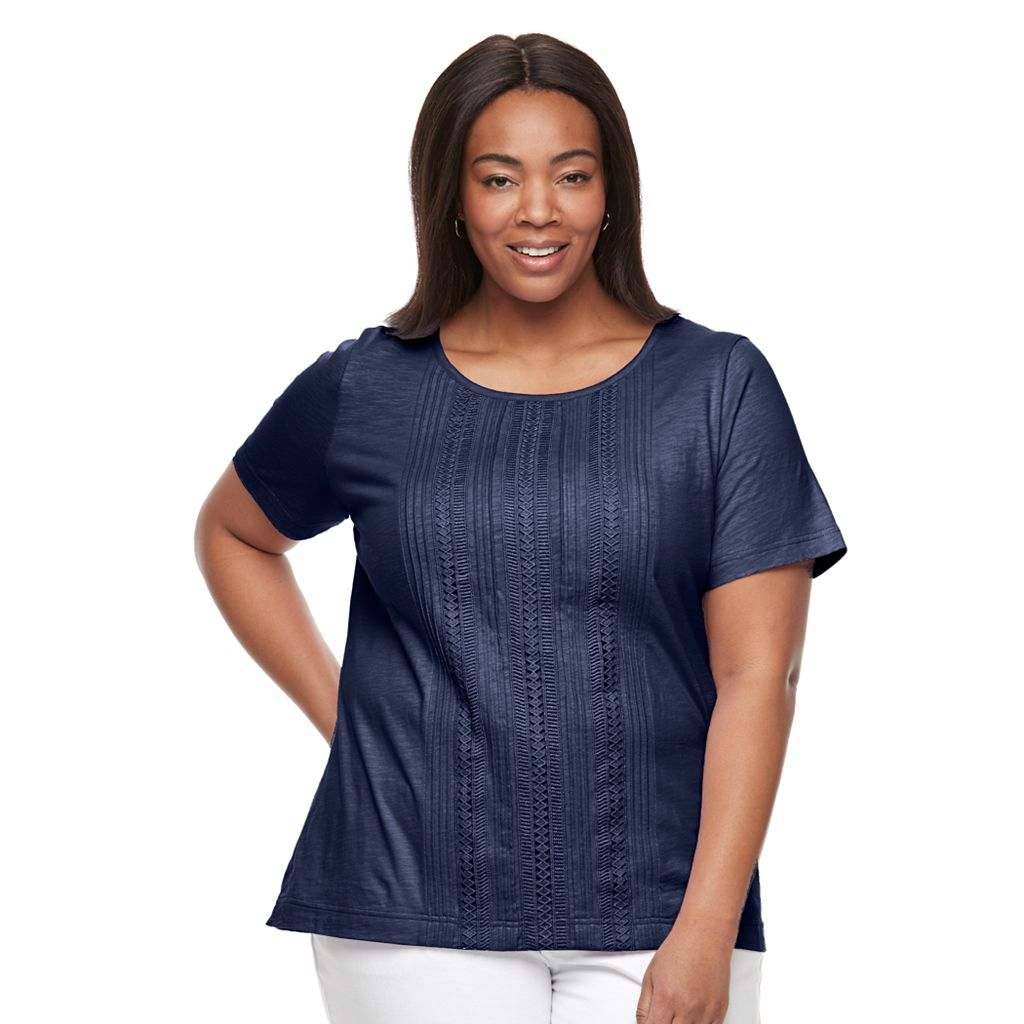Plus Size Croft & Barrow® Pintuck & Crochet Tee