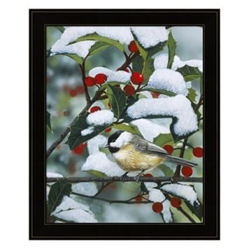 Chickadees And Holly Branch Framed Wall Art