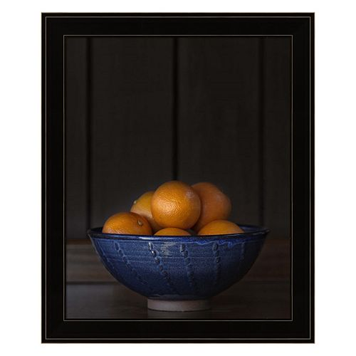 Ten Oranges In A Blue Bowl Framed Wall Art