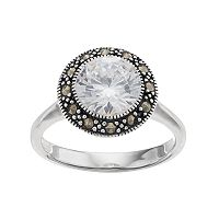 Silver Luxuries Cubic Zirconia & Marcasite Halo Ring