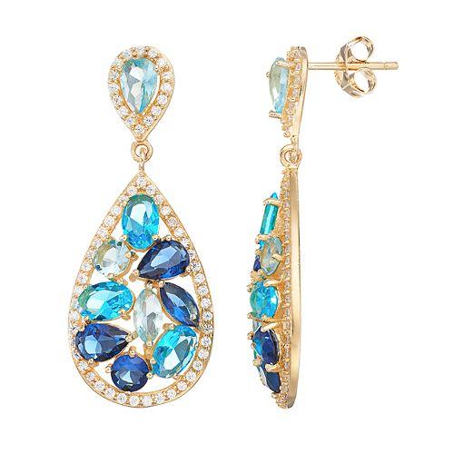 Sophie Miller 14k Gold Over Silver Simulated Gemstone & Cubic Zirconia Teardrop Earrings