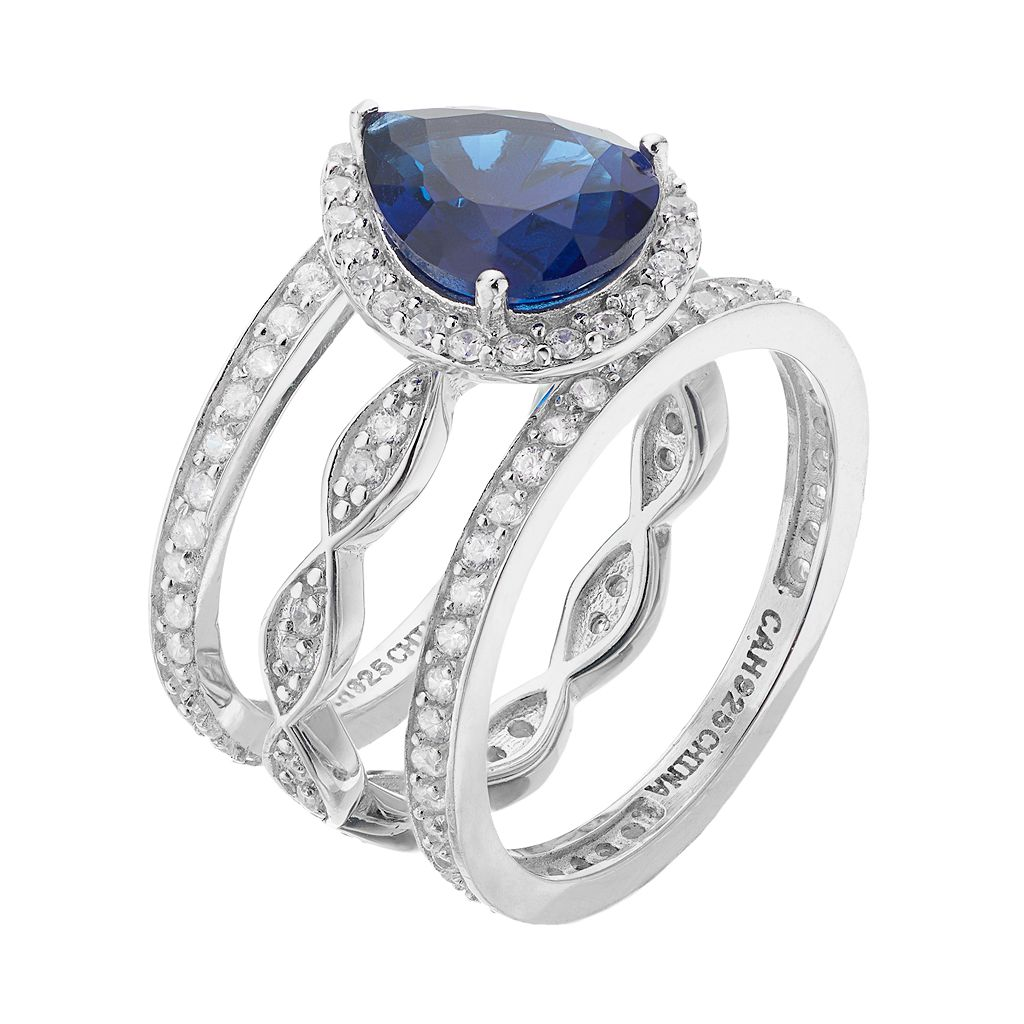 Sophie Miller Sterling Silver Simulated Sapphire & Cubic Zirconia Ring Set