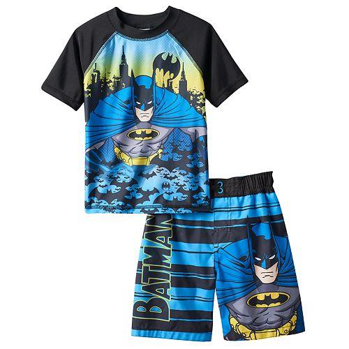 f4f043762b Toddler Boy DC Comics Batman Cityscape Rashguard & Swim Trunks ...