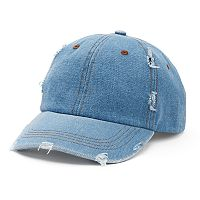 Women's Mudd® Distressed Denim Baseball Hat