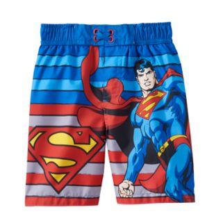 Toddler Boy DC Comics Superman Striped Swim Trunks
