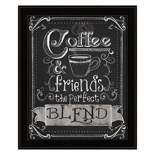 """Coffee & Friends"" Framed Wall Art"