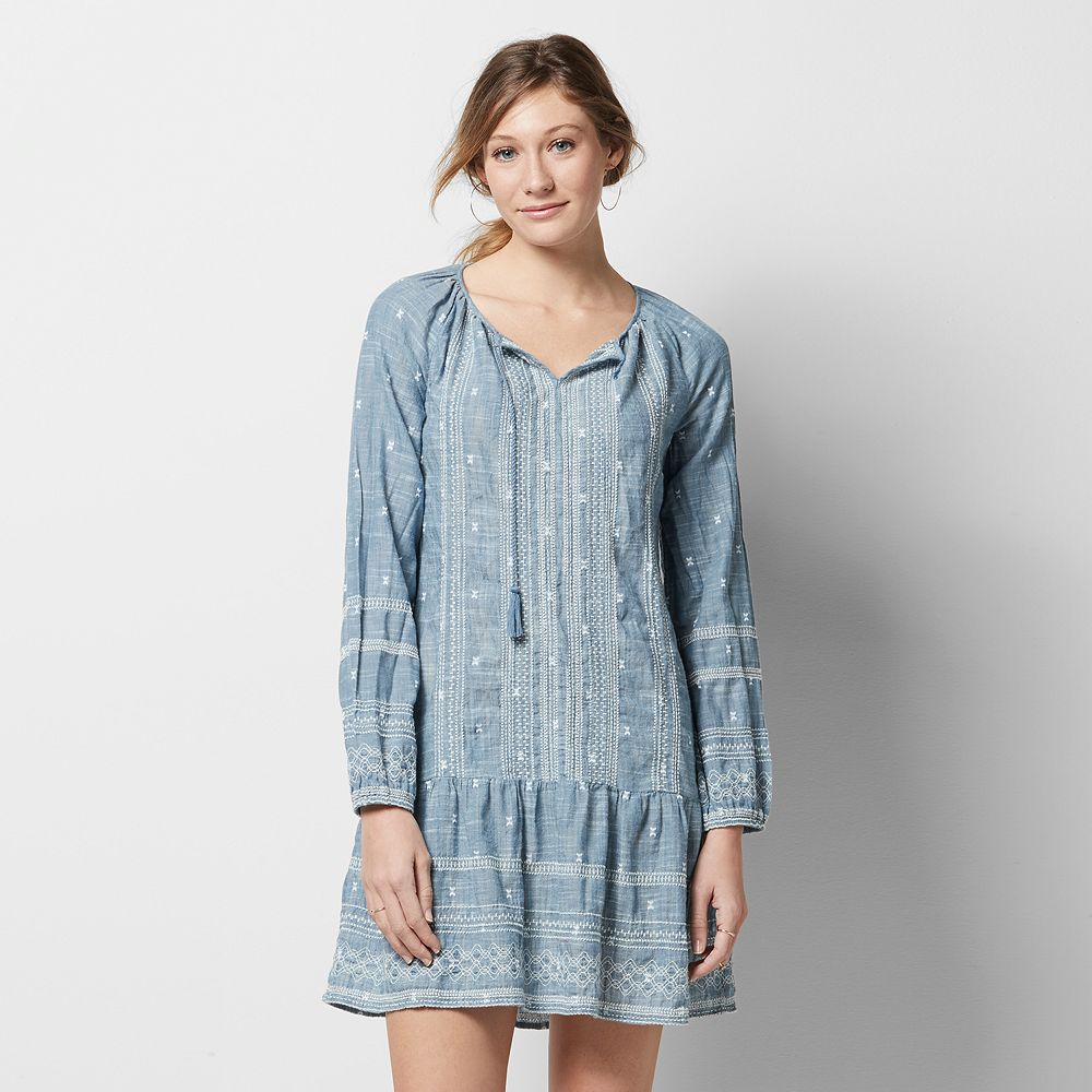 SONOMA Goods for Life™ Embroidered Chambray Drop-Waist Dress