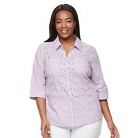 Plus Size Croft & Barrow® Lace Knit-to-Fit Shirt