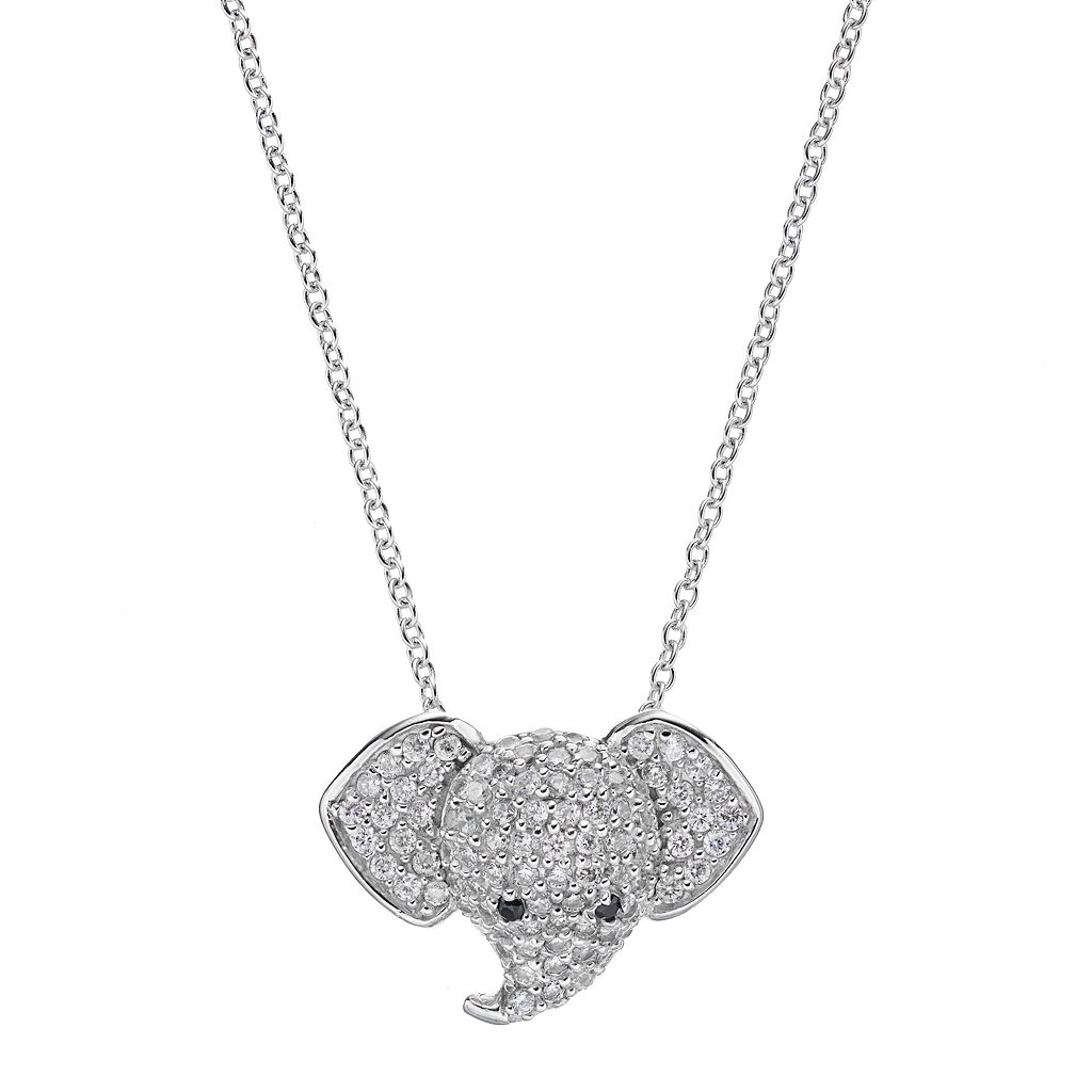 Sophie Miller Sterling Silver Cubic Zirconia Elephant Pendant