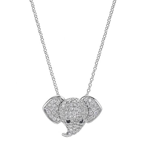 Sophie Miller Sterling Silver Cubic Zirconia Elephant Pendant
