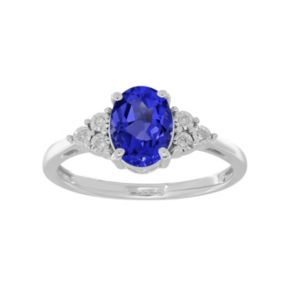 Everlasting Silver Gem Sterling Silver Lab-Created Sapphire & Diamond Accent Oval Ring