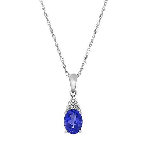Everlasting Silver Gem Sterling Silver Lab-Created Sapphire & Diamond Accent Oval Pendant