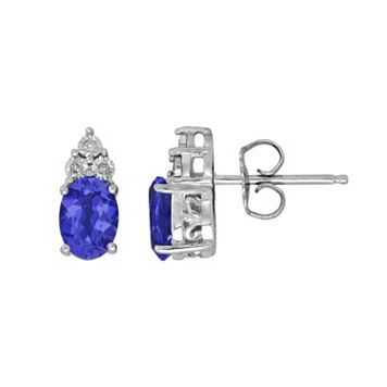 Everlasting Silver Gem Sterling Silver Lab-Created Sapphire & Diamond Accent Oval Stud Earrings