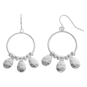 Chaps Hammered Teardrop Nickel Free Drop Hoop Earrings