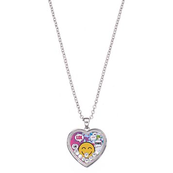 Girls 5-16 Emoji Heart Necklace