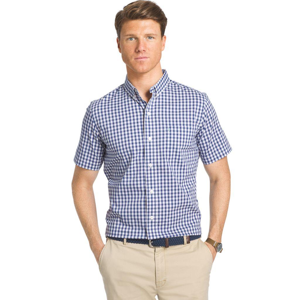 Big & Tall IZOD Advantage Classic-Fit Checked Stretch Button-Down Shirt