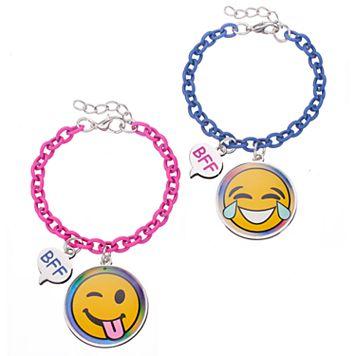 Girls 5-16 Emoji BFF Best Friends Bracelet Set