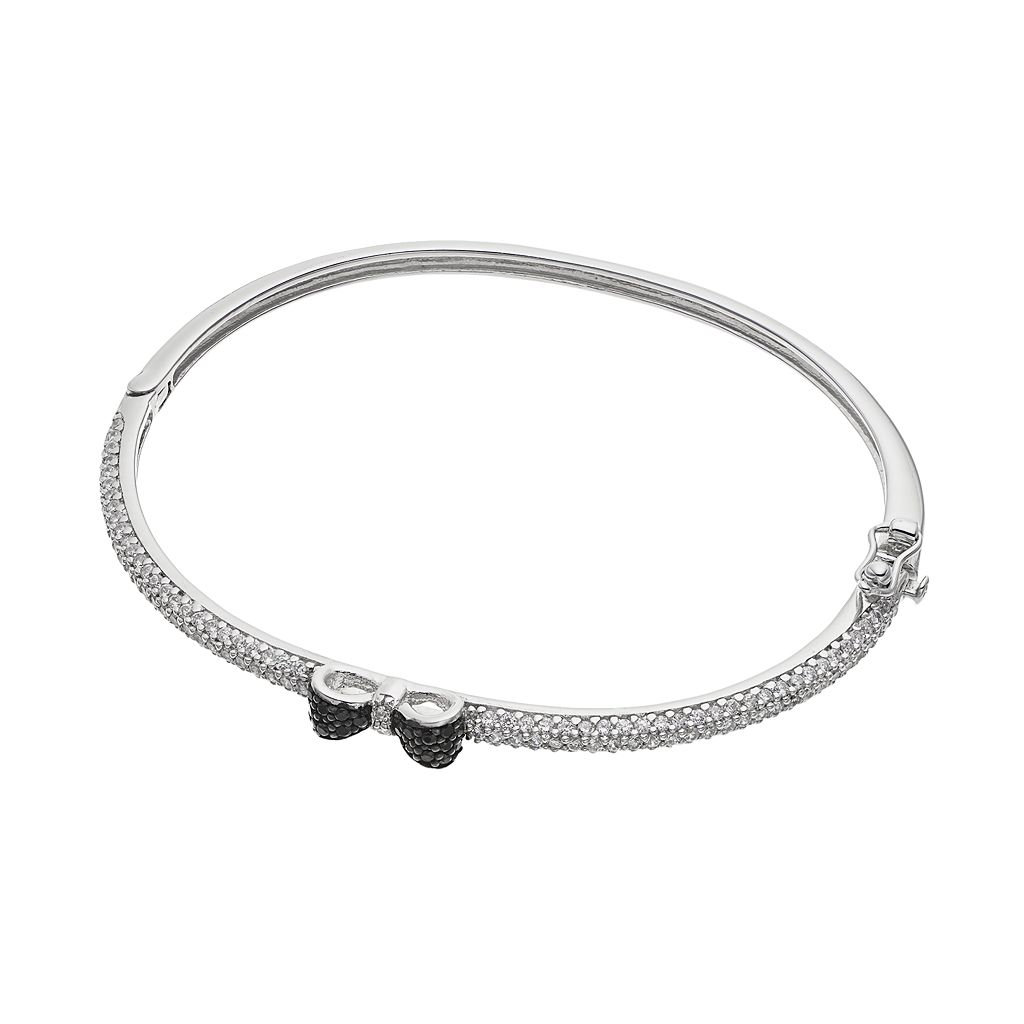 Sophie Miller Sterling Silver Black & White Cubic Zirconia Bow Bangle Bracelet