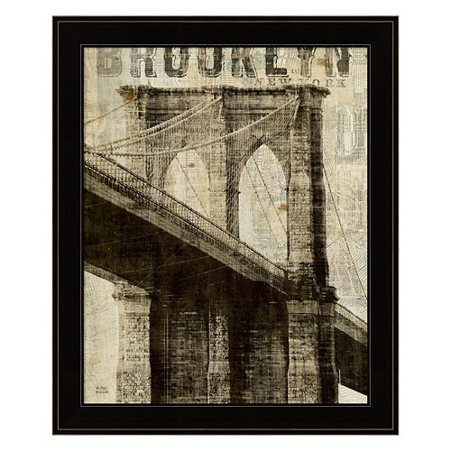 Vintage NY Brooklyn Bridge Framed Wall Art