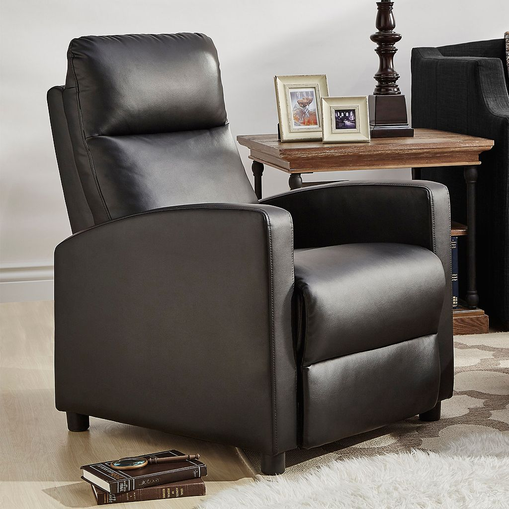 HomeVance Talocott Push Back Faux-Leather Recliner Arm Chair