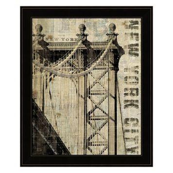 Vintage NY Manhattan Bridge Framed Wall Art