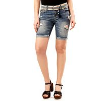 Juniors' Wallflower Luscious Curvy Ripped Bermuda Jean Shorts