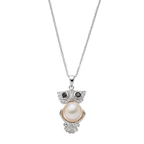 Sophie Miller Sterling Silver Freshwater Cultured Pearl & Cubic Zirconia Owl Pendant