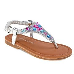 Laura Ashley Toddler Girls' Jeweled Slingback Sandals