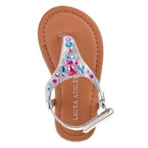 Laura Ashley Toddler Girls' Jeweled Slingback Sandals