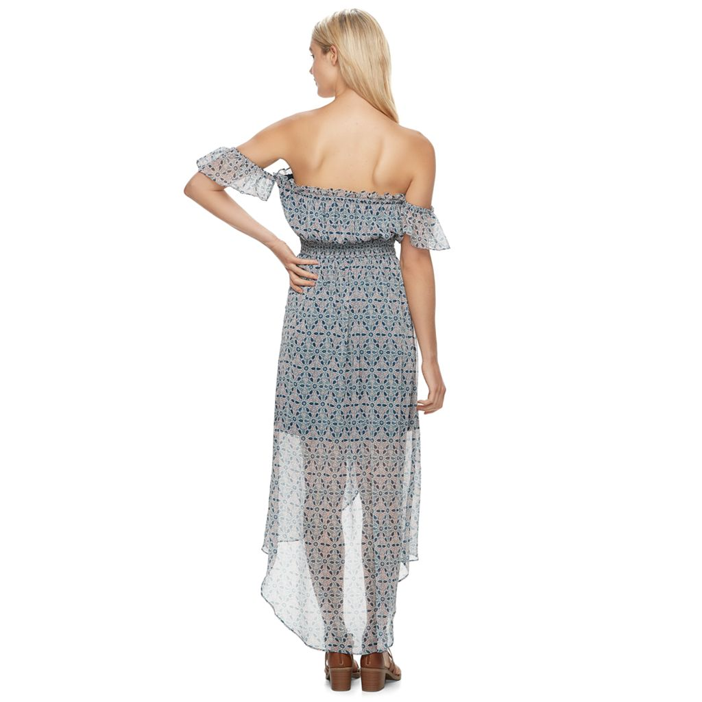 Juniors' Mason & Belle Print Off The Shoulder Maxi Dress