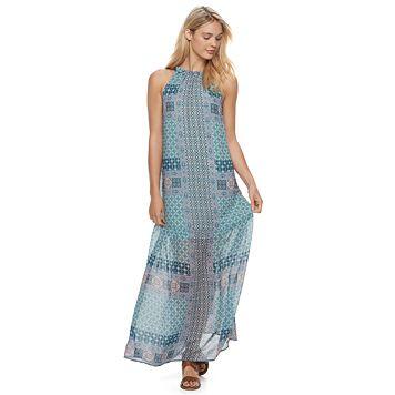 Juniors' Mason & Belle Print Halter Maxi Dress