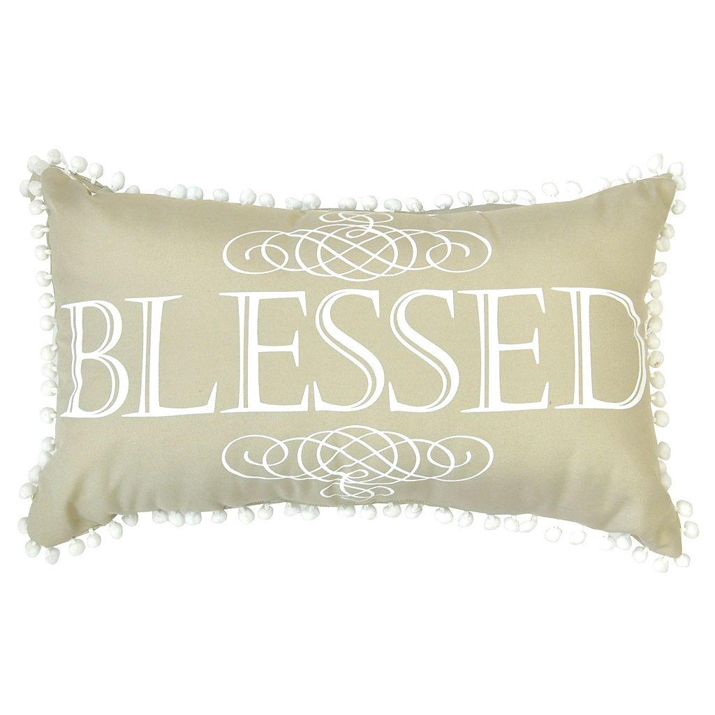 ''Blessed'' Pom Pom Oblong Throw Pillow