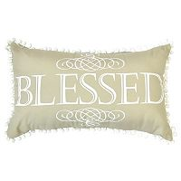 ''Blessed'' Pom Pom Oblong Throw Pillow