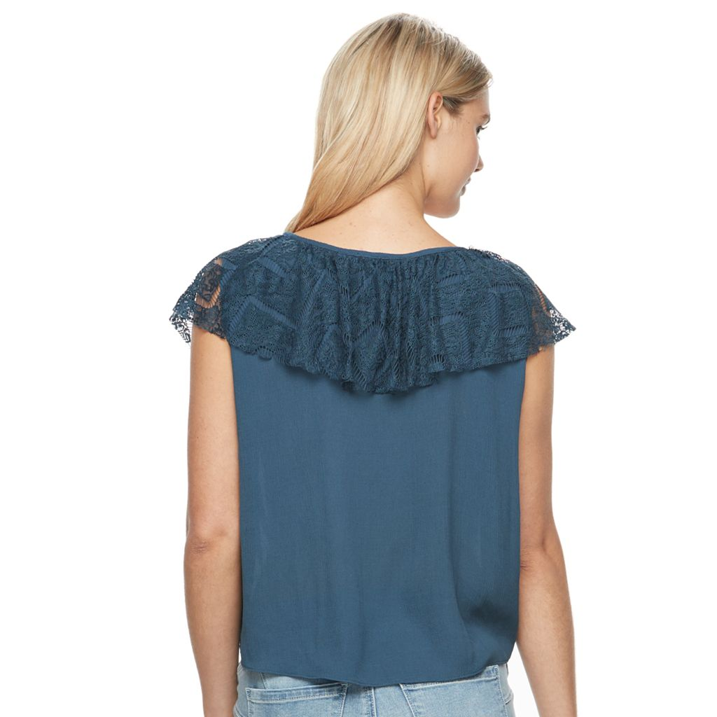 Juniors' Mason & Belle Ruffle V-Neck Crop Top