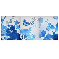 Madison Park Cobalt Garden Canvas Wall Art 3 pc Set