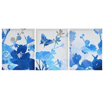 Madison Park Cobalt Garden Canvas Wall Art 3-piece Set
